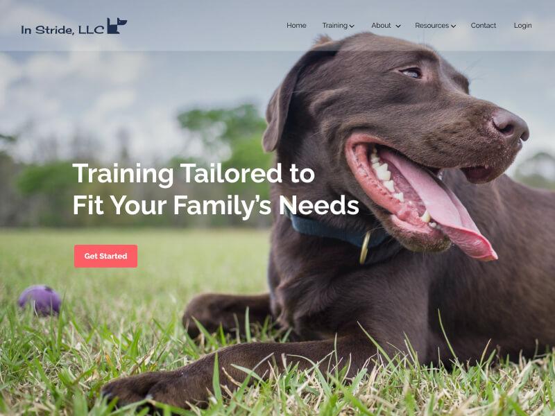 image of dog on homepage